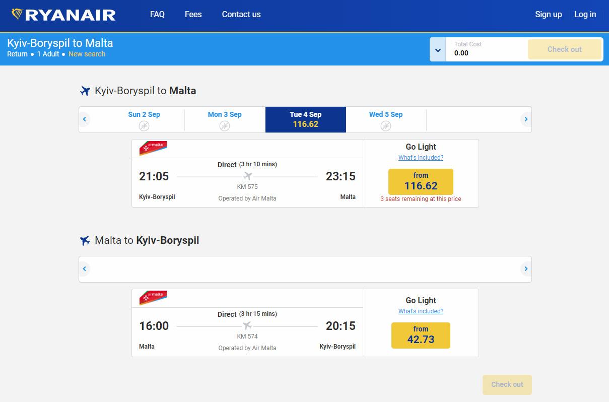 Билеты Air Malta на сайте Ryanair