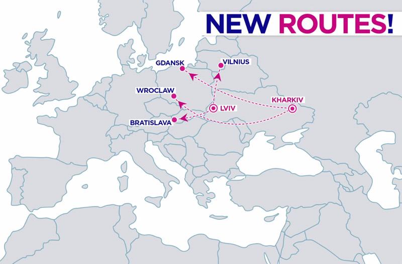 Новые маршруты Wizz Air из Харькова и Львова