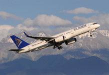 Взлет самолета Boeing 757 Air Astana