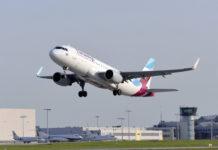 Взлет самолета Airbus A320 Eurowings. Фото: аэропорт Дрездена