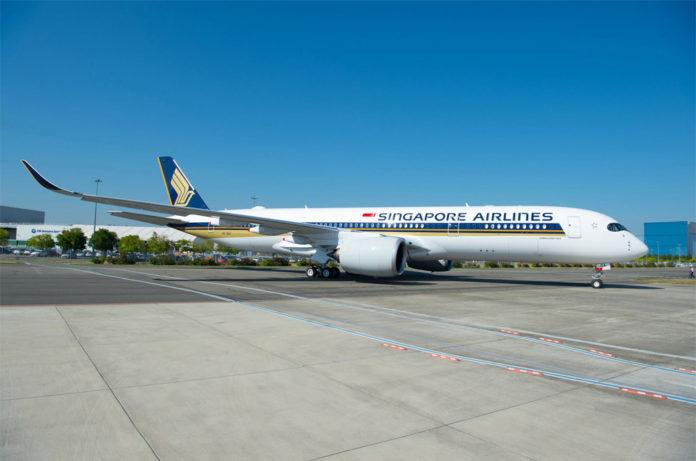 Самолет сверхбольшой дальности Airbus A350-900 ULR авиакомпании Singapore Airlines