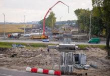 Строительство железнодорожной эстакады в аэропорт Борисполь над автодорогой Киев-Борисполь-Харьков