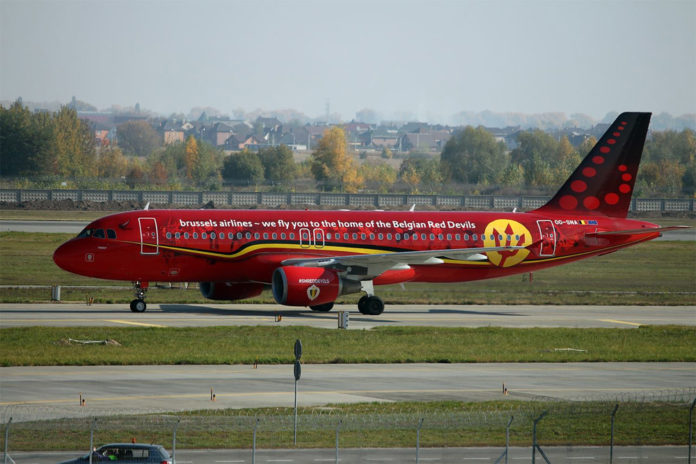 Airbus A320 Brussels Airlines в специальной ливрее с трезубцем, посвященной национальной футбольной сборной Бельгии по футболу