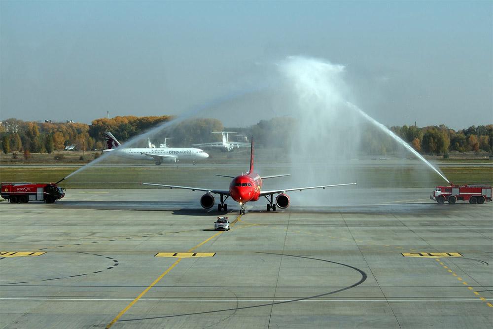 Встреча водяным салютом первого рейса Brussels Airlines в аэропорту Борисполь