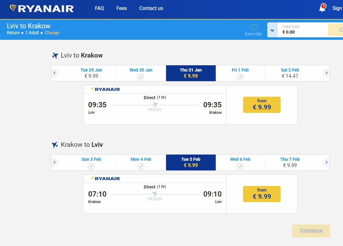 Билеты на рейсы Ryanair из Украины по 9,99 евро в одну сторону