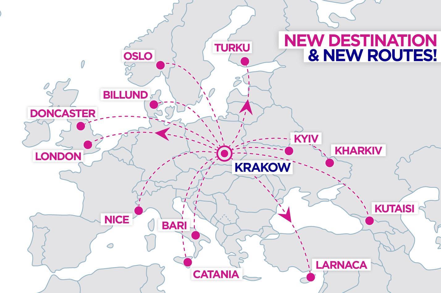 Маршрутная сеть Wizz Air из Кракова