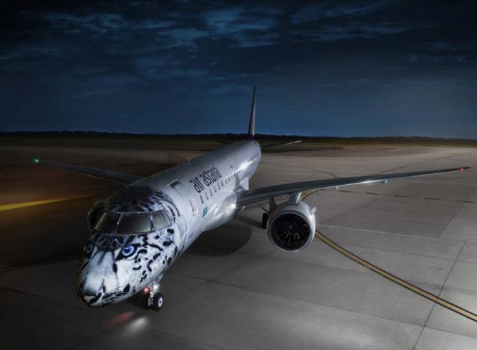 Embraer 190 E2 Air Astana в специальной ливрее со снежным барсом