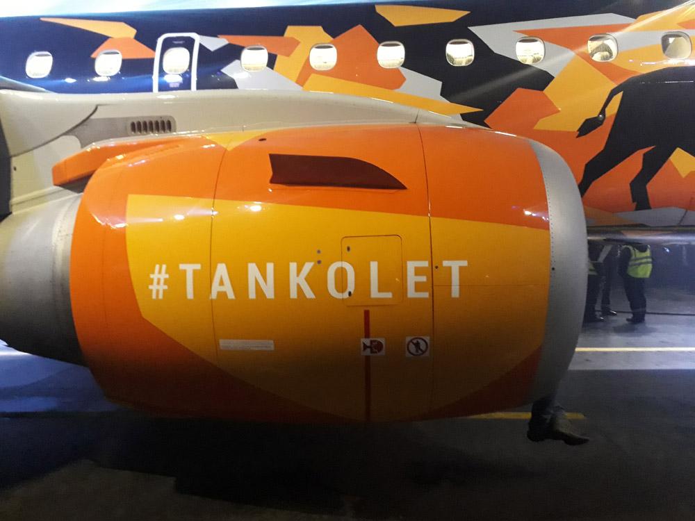 "Двигатель самолета ""Белавиа"" с хэштегом #tankolet"