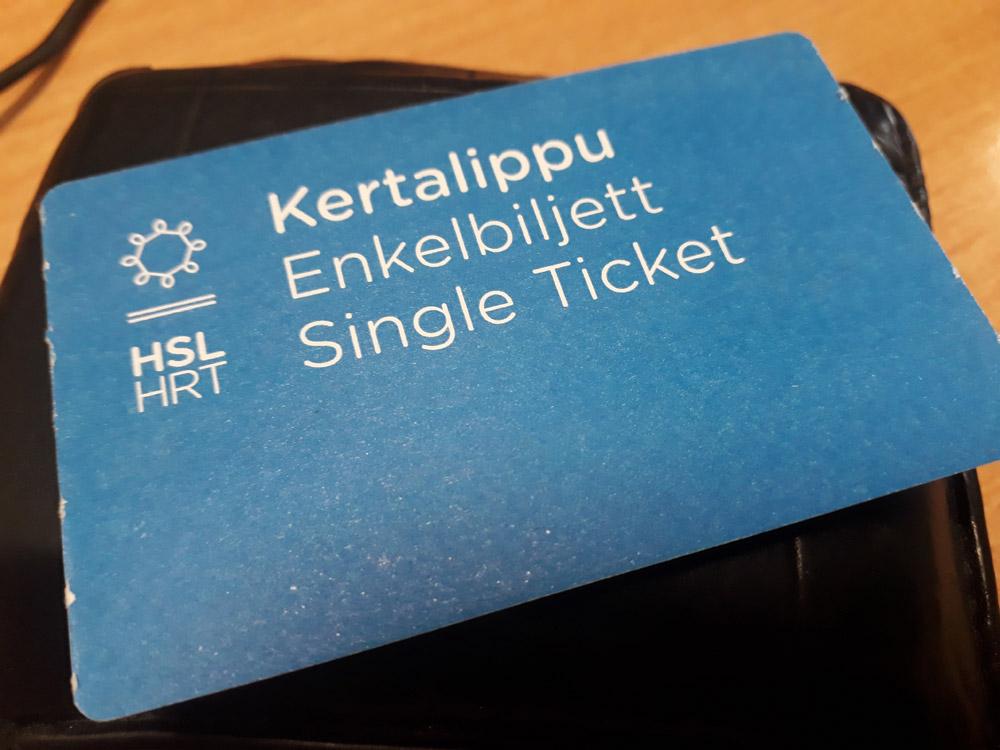 Билет на общественный транспорт в Хельсинки