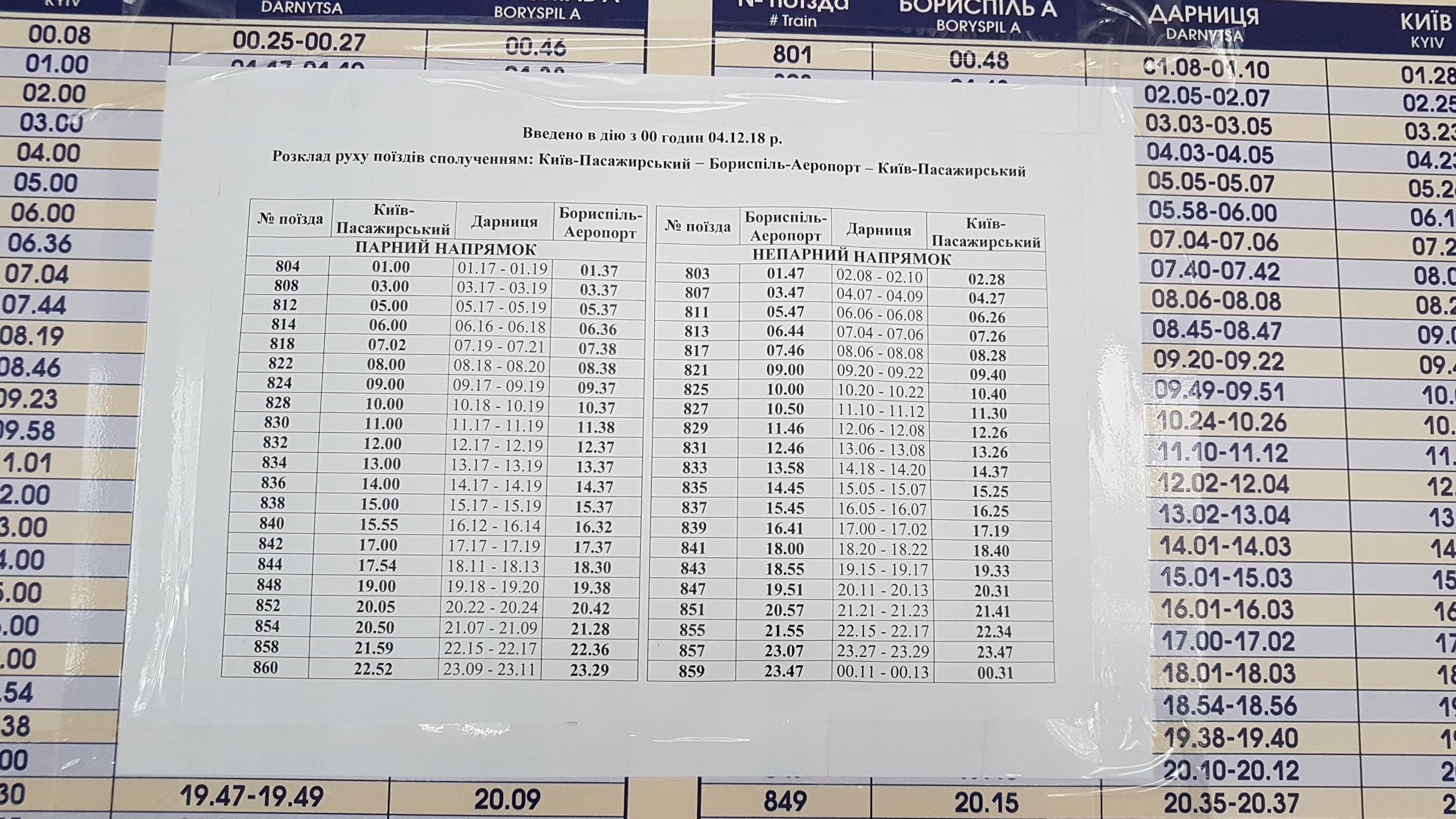 """Новое расписание поездов """"Киев Борисполь Экспресс"""" с 4 декабря 2018 года"""