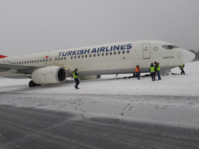 Выкатившийся за пределы полосы после посадки во Львове Boeing 737-800 Turkish Airlines