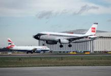 Airbus A319 в ретро-ливрее BEA и Airbus A320 в современной ливрее British Airways
