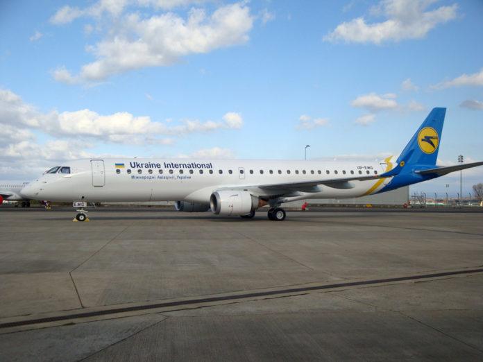 Embraer 195 МАУ с регистрационным номером UR-EMG