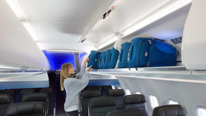 Новые полки для ручной клади XL bins в салоне Airbus A321neo