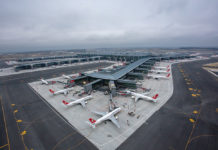 Вид с высоты на новый терминал в аэропорту Стамбула