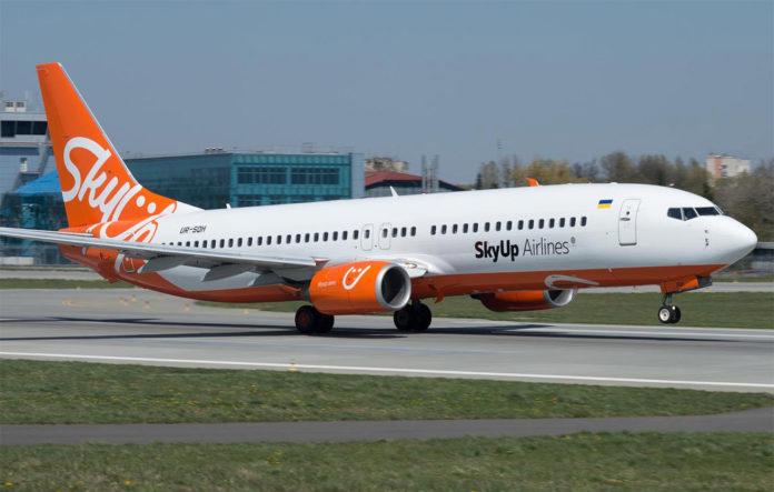 Взлет Boeing 737-800 SkyUp UR-SQH
