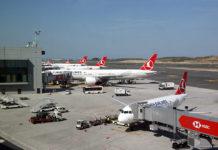 Самолеты Turkish Airlines в новом аэропорту Стамбула