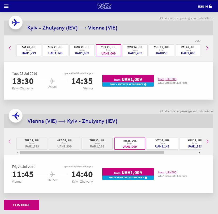 Дешевые авиабилеты Wizz Air на рейсы Киев-Вена на лето 2019 года
