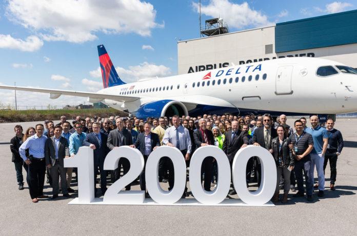 12000-м поставленным самолетом Airbus стал A220-100, который получила Delta