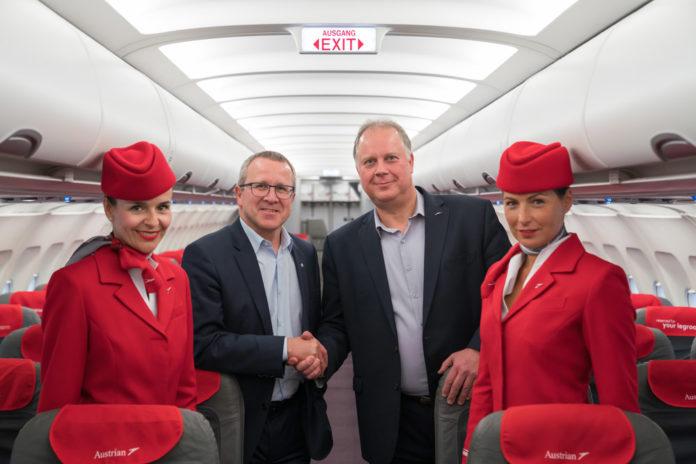 Airbus A320 Austrian Airlines после обновления створок багажных полок