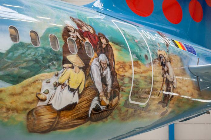 Хвостовая часть A320 Brussels Airlines в ливрее Bruegel