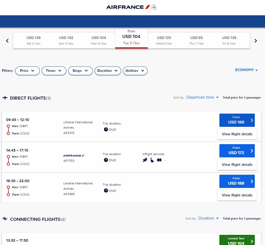 Обновленные данные из системы бронирования Air France, на зимний сезон 2019/2020 доступен один из двух ежедневных рейсов Киев-Париж. Скриншот сайта сделан 24 мая 2019 года