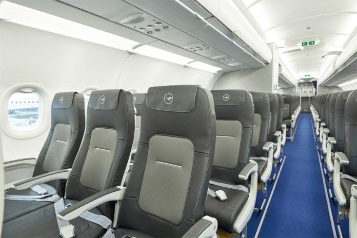 Салон Airbus A321neo Lufthansa с креслами нового дизайна