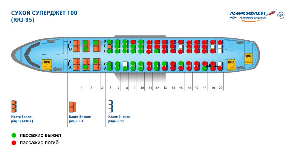 """Карта размещения пассажиров в салоне сгоревшего Superjet 100 """"Аэрофлота"""""""