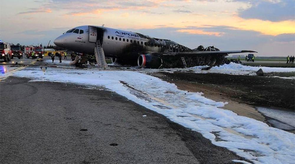 """Superjet 100 """"Аэрофлота"""" после ликвидации пожара"""