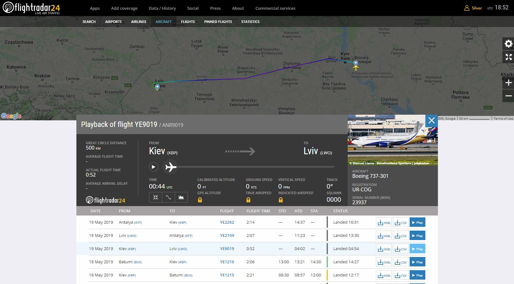 Трекинг рейса Yanair Житомир-Львов на самолете Boeing 737-300 UR-COG. Скрин flighradar24.com