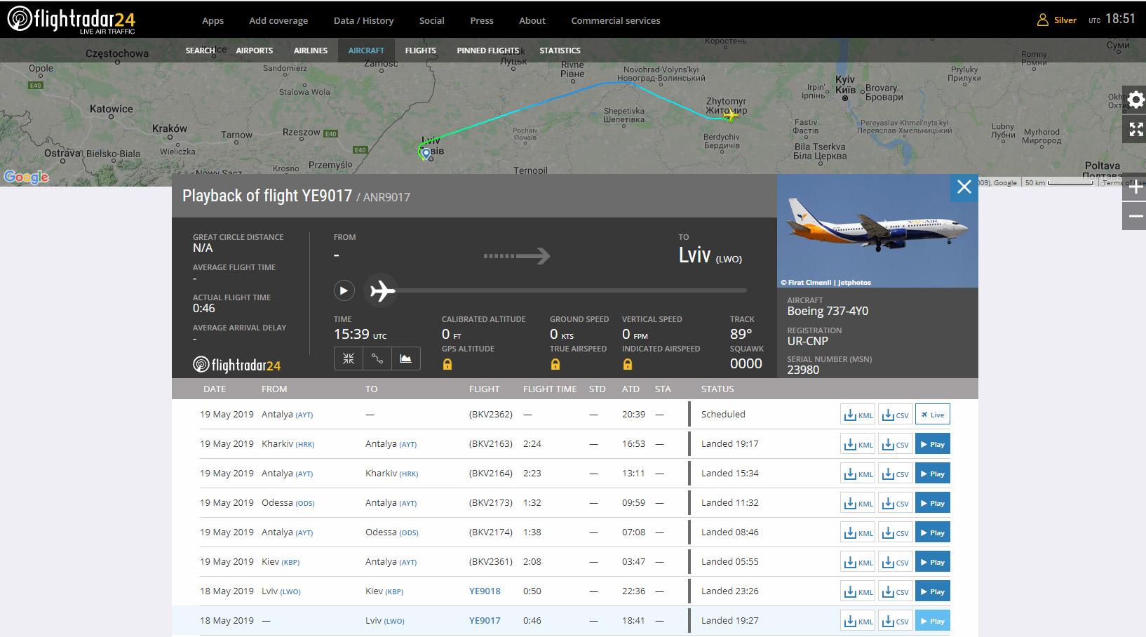 Трекинг рейса Yanair Житомир-Львов на самолете Boeing 737-400 UR-CNP. Скрин flighradar24.com