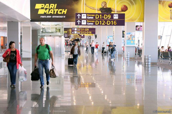 Зал вылета в терминале D в аэропорту Борисполь