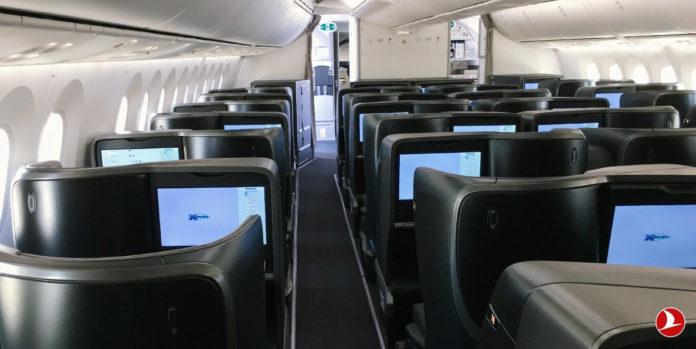Салон бизнес-класса в Boeing 787-9 Turkish Airlines