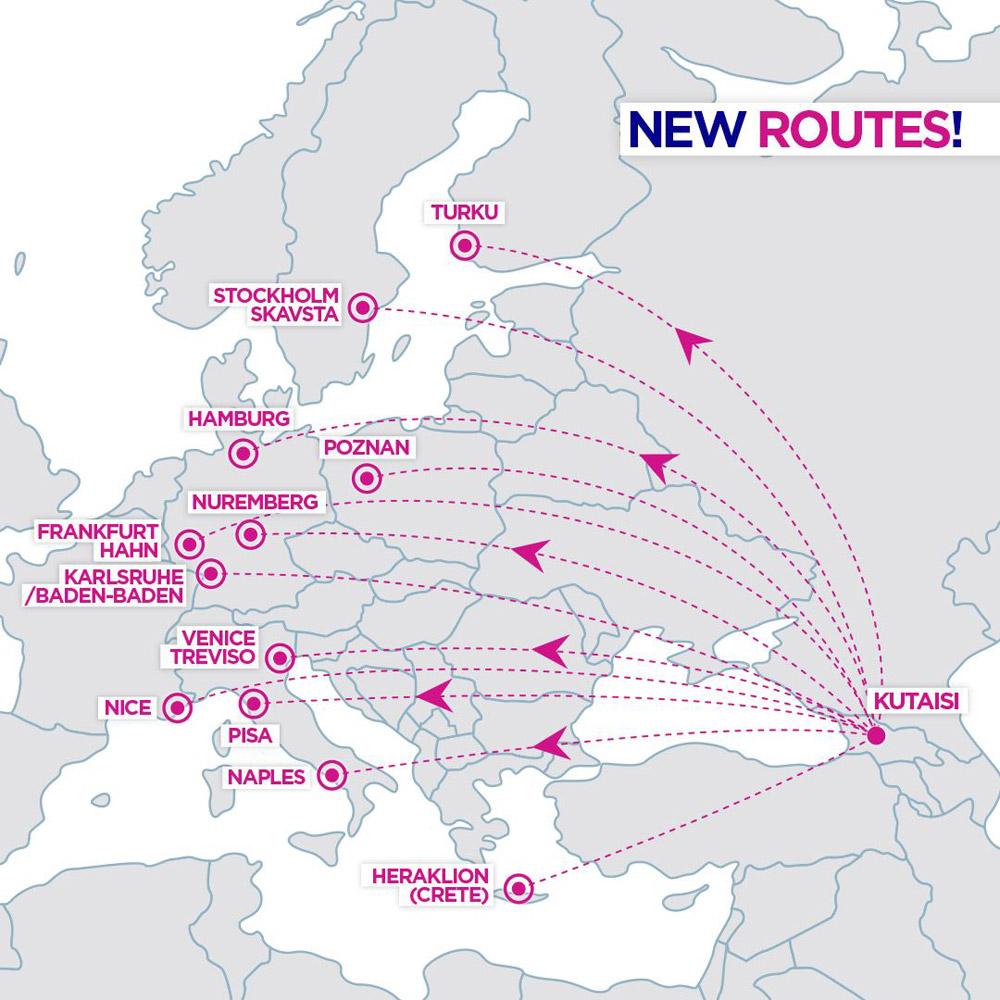 12 новых направлений Wizz Air из Кутаиси