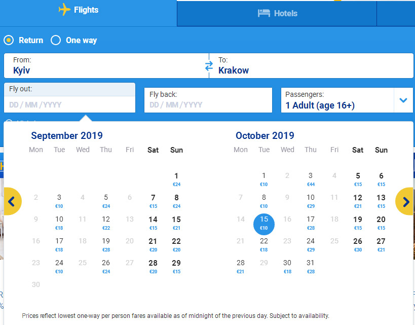 Календарь дешевых авиабилетов на рейсы Ryanair