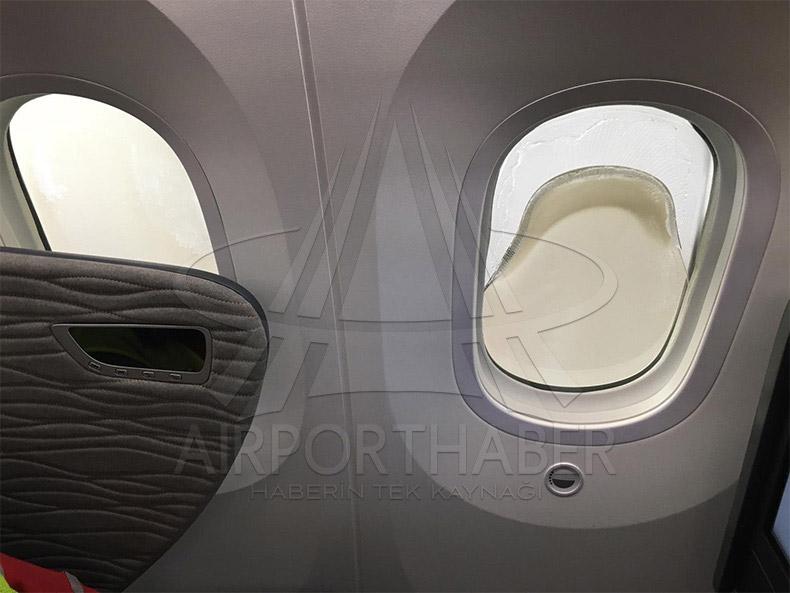 Расплавившийся иллюминатор Boeing 787-9 Turkish Airlines