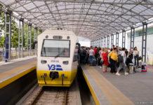 """Поезд PESA 620M """"Киев Борисполь Экспресс"""" на станции в аэропорту Борисполь"""