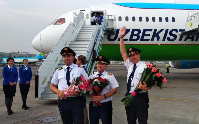 Экипаж, доставивший 5-й Boeing 787-8 Uzbekistan Airways в Ташкент