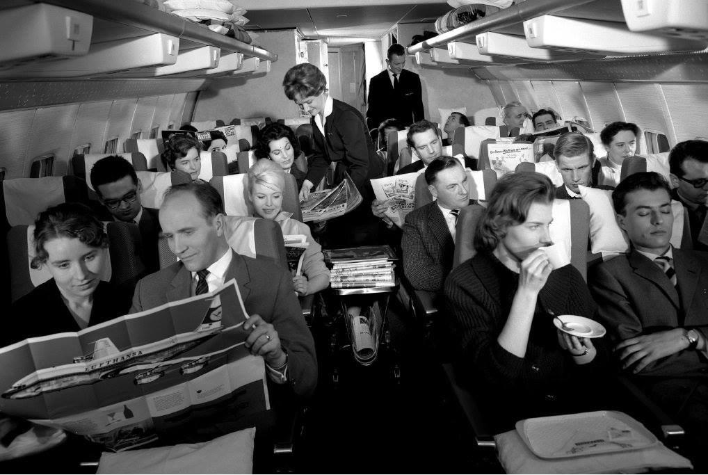 Экономический класс в Boeing 707 Lufthansa в 1960-е годы