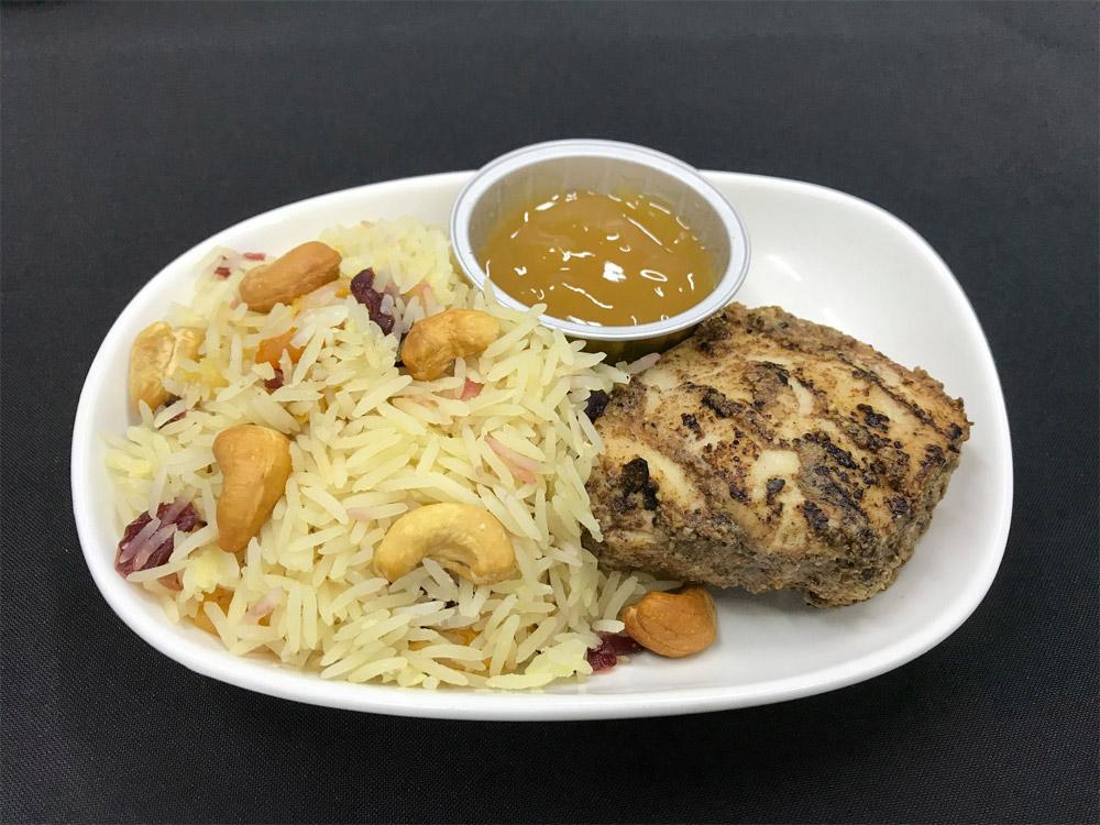Специальное халяльное блюдо. Подается в бизнес-классе МАУ на рейсах в Амман, Тегеран и Каир
