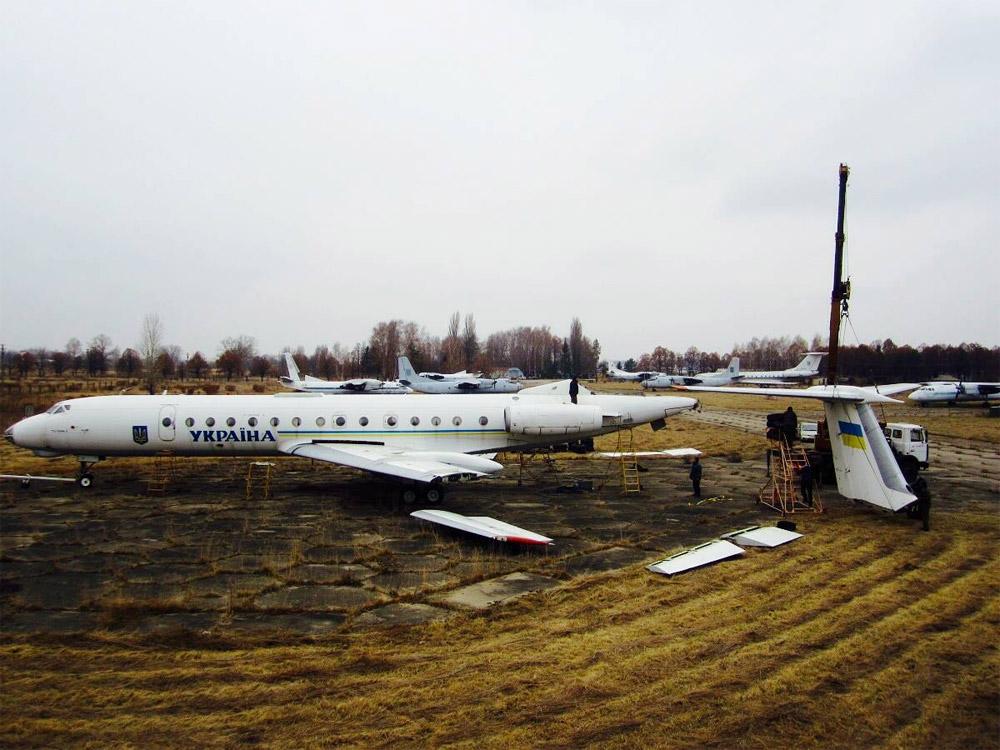 Разборка Ту-134 UR-65782 в аэропорту Борисполь для последующей транспортировки в Государственный музей авиации в Жулянах