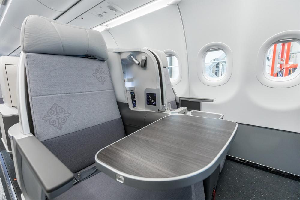 Кресла бизнес-класса в Airbus A321LR Air Astana