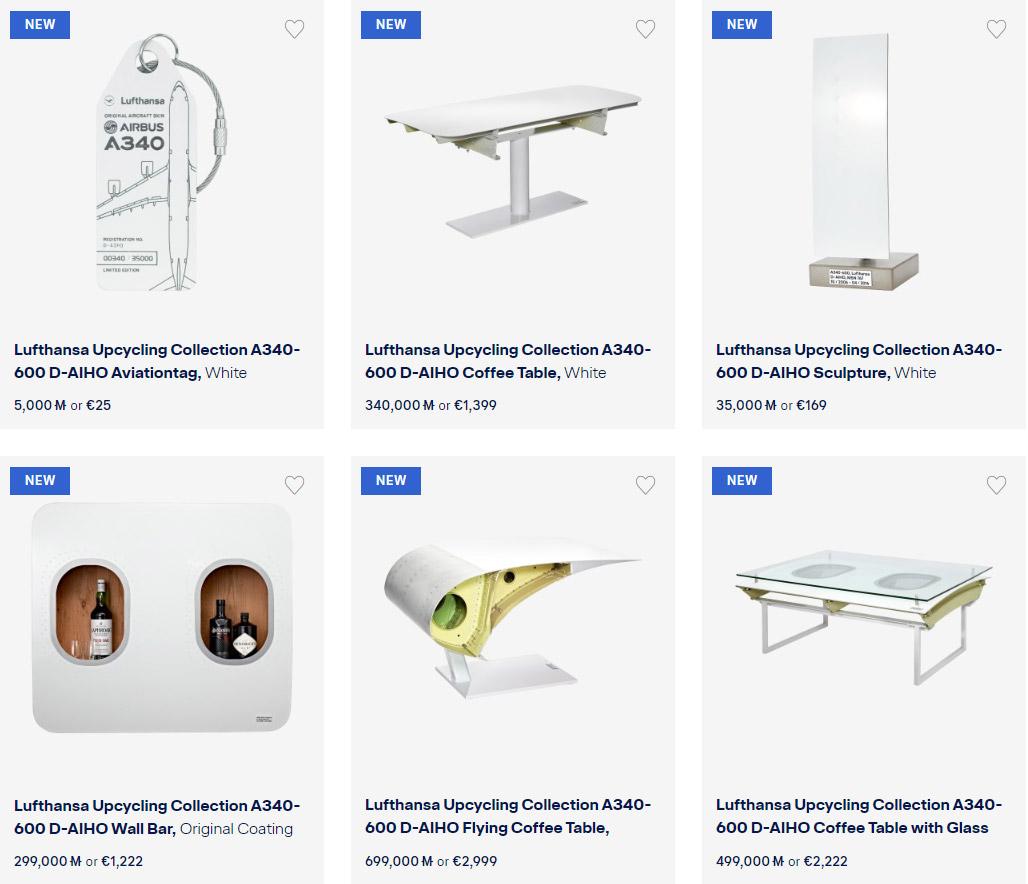 Коллекция брелков и мебели, произведенных из элементов самолета Airbus A340-600 D-AIHO авиакомпании Lufthansa