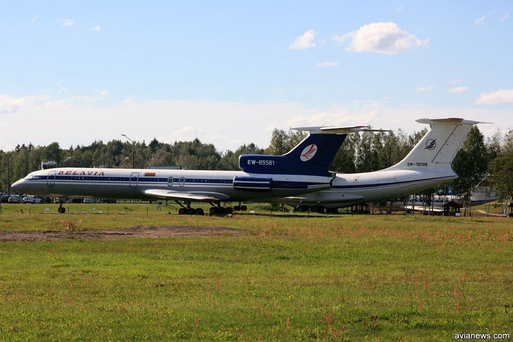 """Ту-154Б-2 """"Белавиа"""" и Ил-76Т """"Трансавиаэкспорт"""" стоят отдельно от остальной экспозиции музея в аэропорту Минск"""