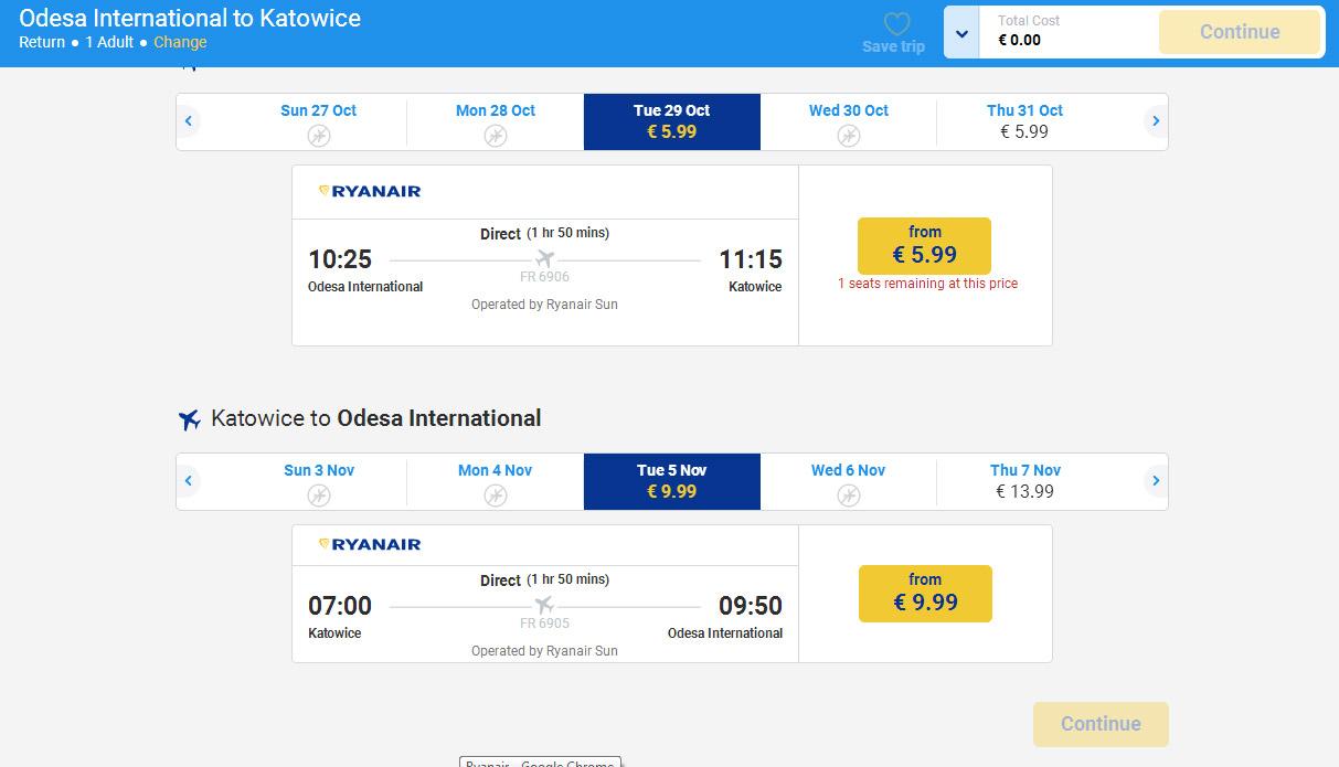 Дешевые авиабилеты Одесса-Катовице Ryanair за 6 евро