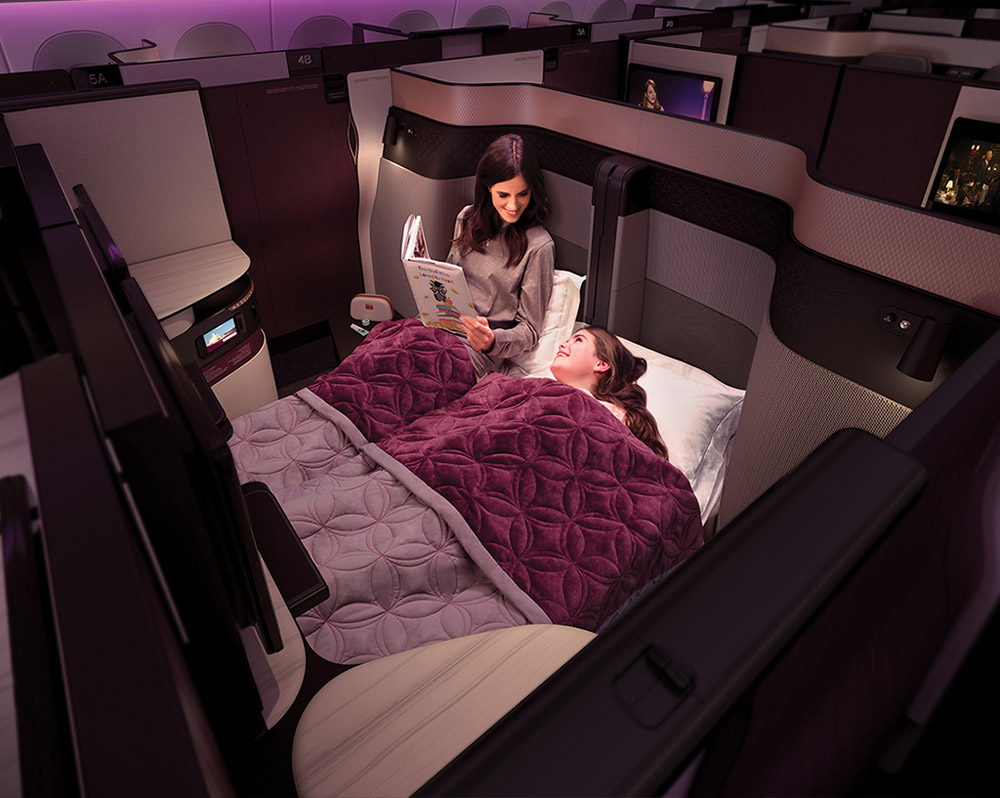 Кресла бизнес-класса Qsuite в самолете Qatar Airways