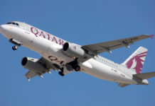 Взлет Airbus A320 Qatar Airways