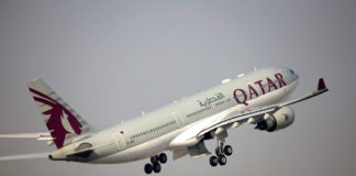 Взлет Airbus A330 Qatar Airways
