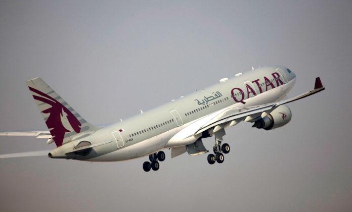 Взлет Airbus A330 Qatar Airways