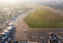 Аэродром аэропорта Жуляны во время закрытия аэропорта на ремонт полосы